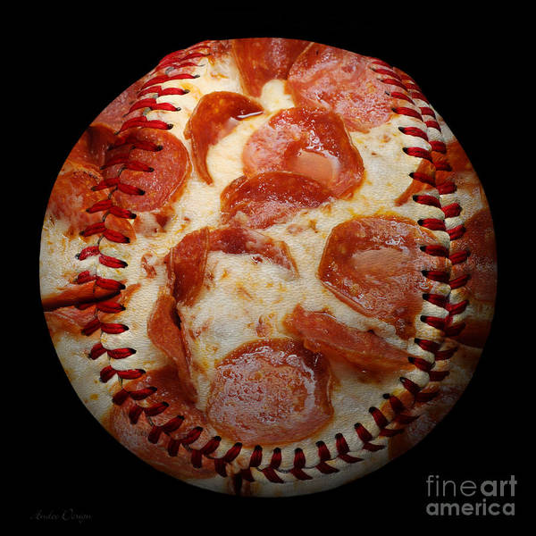 Andee Design Pizza Poster featuring the photograph Pepperoni Pizza Baseball Square by Andee Design
