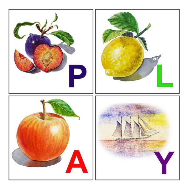 Alphabet Poster featuring the painting Play Art Alphabet For Kids Room by Irina Sztukowski