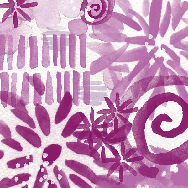 Purple And White Abstract Poster featuring the painting Purple Garden - Contemporary Abstract Watercolor Painting by Linda Woods