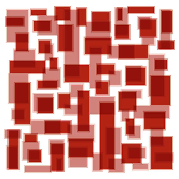 Red Poster featuring the painting Red Abstract Patches by Frank Tschakert
