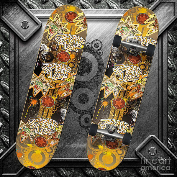 Skateboard Poster featuring the digital art Skateboard by Mo T