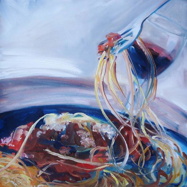 Spaghetti Poster featuring the painting Sketti by Donna Tuten