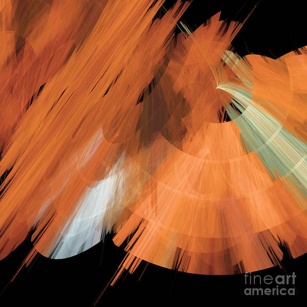 Ballerina Poster featuring the digital art Tutu Stage Left Peach Abstract by Andee Design
