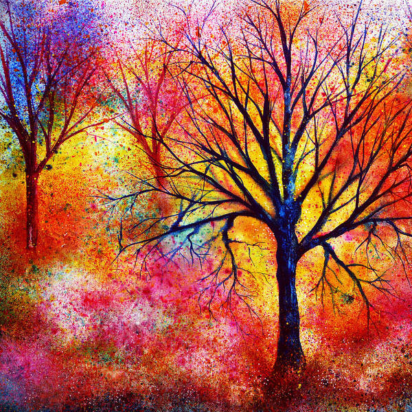 Colorful Vibrant Canvas Bright Raintbow Painted Poster featuring the painting Vibrant by Ann Marie Bone