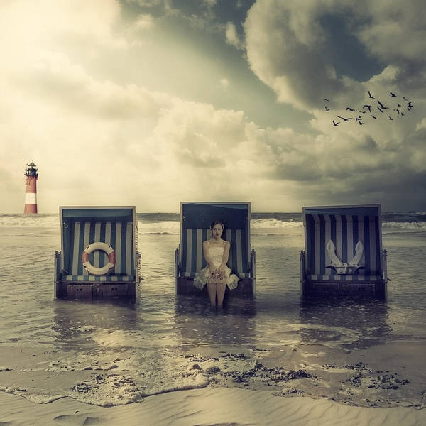 Beach Chair Poster featuring the photograph Waiting For The Flood by Joana Kruse