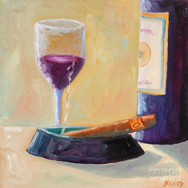 Wine Poster featuring the painting Wine And Cigar by Todd Bandy
