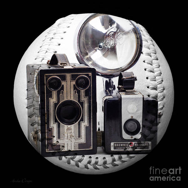 Camera Poster featuring the photograph World Travelers Baseball Square by Andee Design