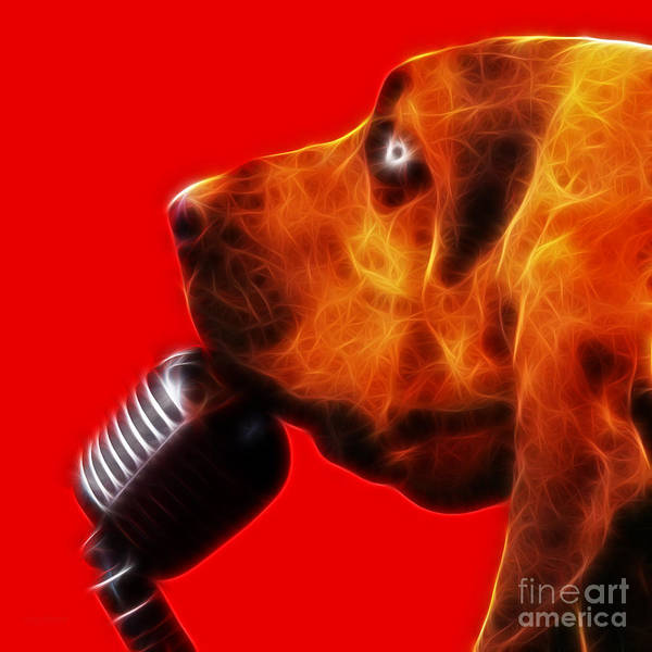 Animal Poster featuring the photograph You Ain't Nothing But A Hound Dog - Red - Electric by Wingsdomain Art and Photography