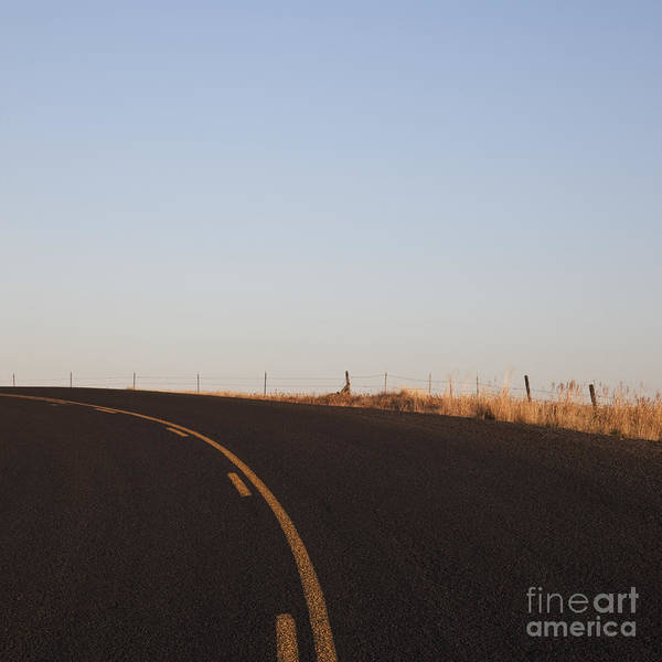 Asphalt Poster featuring the photograph Two Lane Road Between Fields by Jetta Productions, Inc