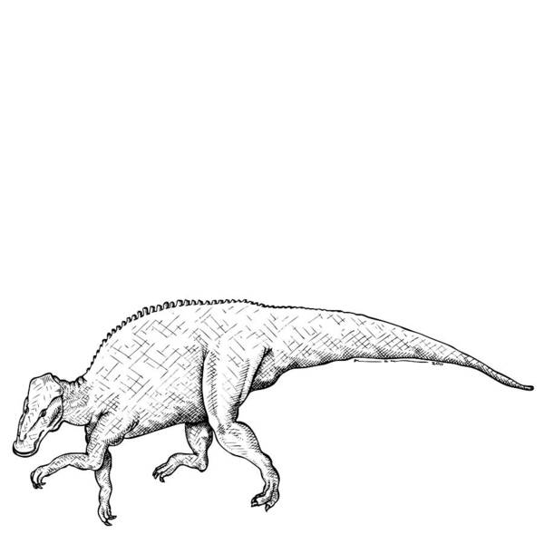 Cartoon Poster featuring the drawing Brachylophosaurus - Dinosaur by Karl Addison