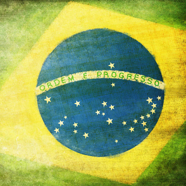 Abstract Poster featuring the painting Brazil Flag by Setsiri Silapasuwanchai