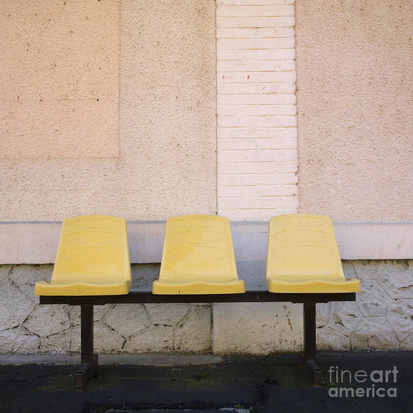 Walls; Wall; To; Three; The; Station; Side-by-side; Side; Shots; Shot; Seats; Seating-accommodation; Seating; Photos; Photo; Outdoor; Other; Nobody; Next; In; House; Exteriors; Exterior; Each; During; Daytime; Daylight; Day; Chairs; Chair; By; Beside; Benches; Bench; Accommodation; Abreast Poster featuring the photograph Chairs by Bernard Jaubert