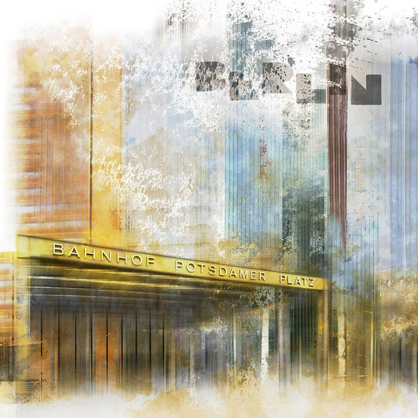 Berlin Poster featuring the digital art City-art Berlin Potsdamer Platz by Melanie Viola
