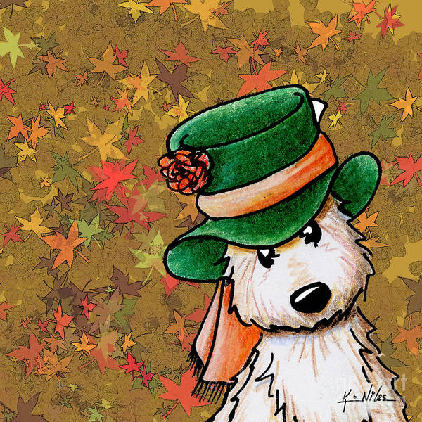 Cairn Terrier Poster featuring the drawing Hat Season Cairn Terrier by Kim Niles