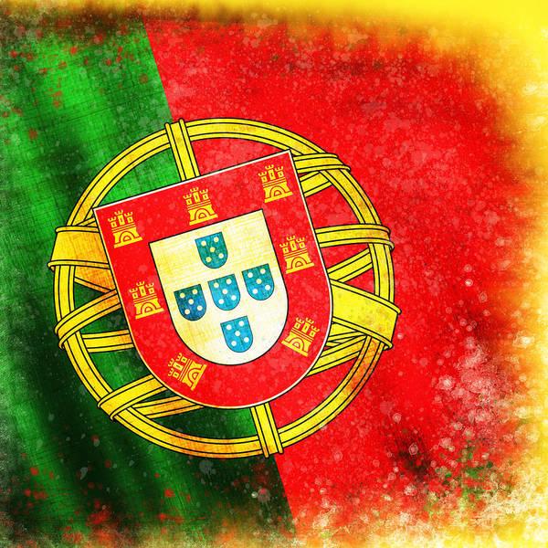 Chalk Poster featuring the painting Portugal Flag by Setsiri Silapasuwanchai