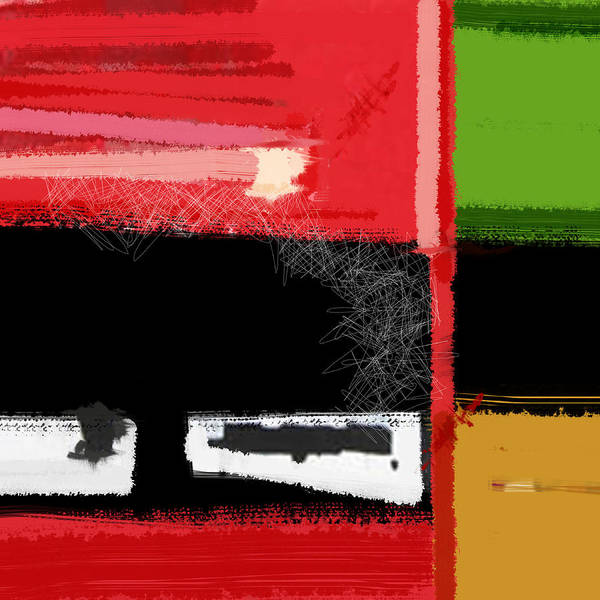 Abstract Poster featuring the painting Red And Green Square by Naxart Studio