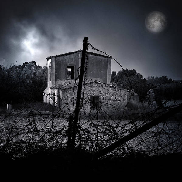 Aged Poster featuring the photograph Scary House by Stelios Kleanthous