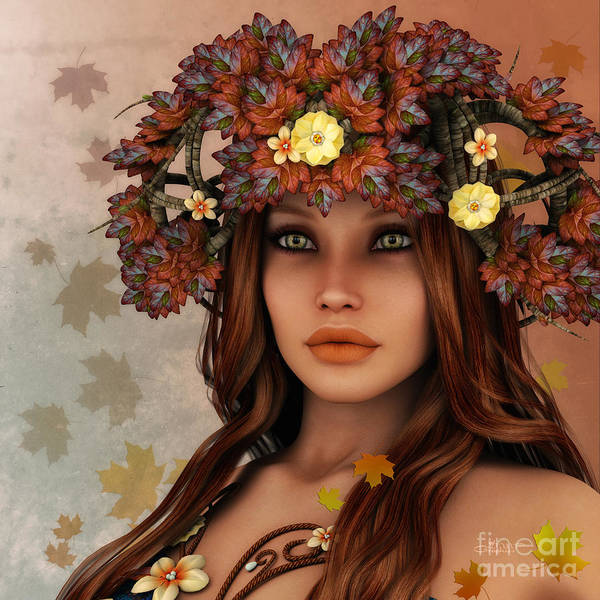 3d Poster featuring the digital art They Call Her Autumn by Jutta Maria Pusl