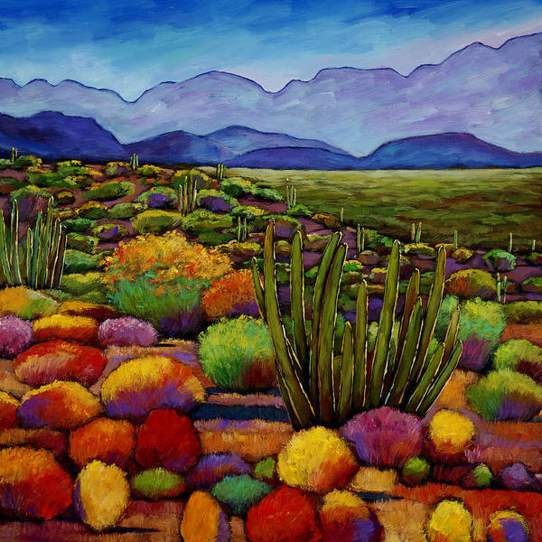 Desert Landscape Poster featuring the painting Organ Pipe by Johnathan Harris