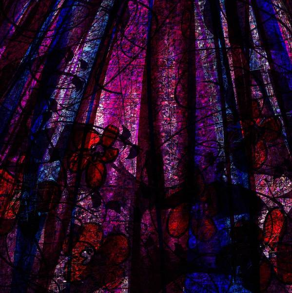 Abstract Poster featuring the digital art Acid Rain With Red Flowers by Rachel Christine Nowicki