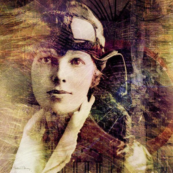 amelia Earhart Poster featuring the digital art Amelia by Barbara Berney