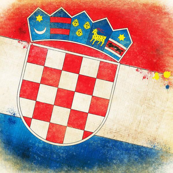 Chalk Poster featuring the painting Croatia Flag by Setsiri Silapasuwanchai
