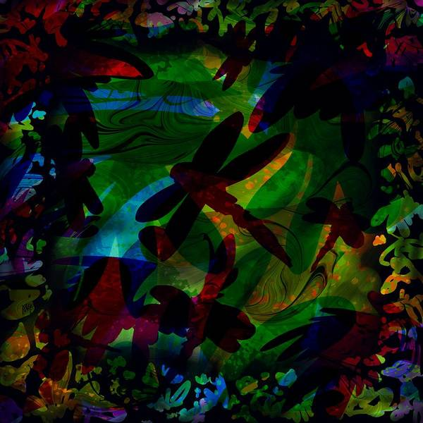 Abstract Poster featuring the digital art Dragonfly by Rachel Christine Nowicki