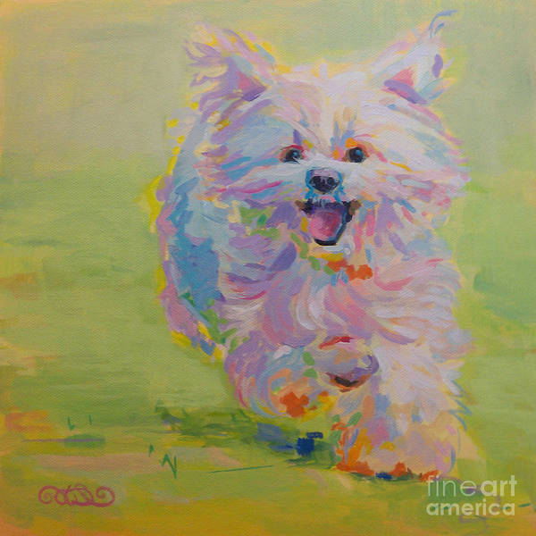 White Dog Poster featuring the painting Gigi by Kimberly Santini