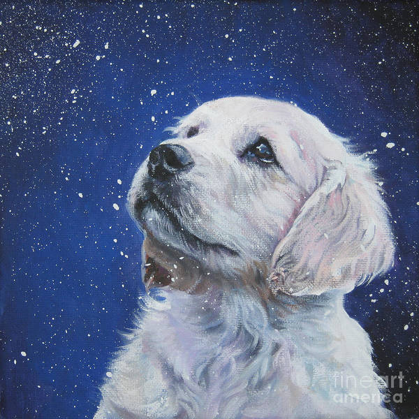 Dog Poster featuring the painting Golden Retriever Pup In Snow by Lee Ann Shepard