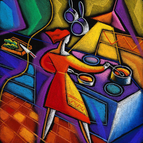 Caucasian Chef Chop Chopping Commercial Concept Cook Cookery Cooking Counter Countertop Creative Creativity Cutting Drawing Female Food Food And Drink Fresh Freshness Health Illustration Illustration And Painting Indoors Inside Job Job Skills Kitchen Male Man Men And Women Nutrition Occupation Oven Partnership People Person Prepare Preparing Readying Restaurant Room Side View Sink Slice Slicing Standing Stove Teamwork Three Quarter Length Toiling Two Two Woman Working Working Together Poster featuring the painting Kitchen by Leon Zernitsky