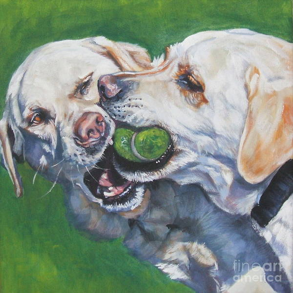 Dog Poster featuring the painting Labrador Retriever Yellow Buddies by Lee Ann Shepard