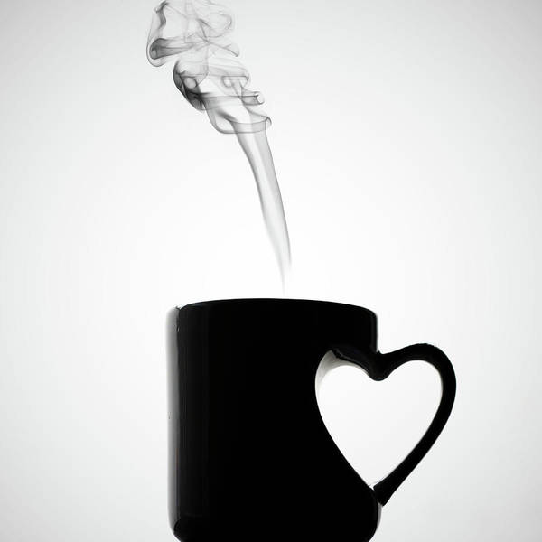 Square Poster featuring the photograph Mug Of Coffee With Handle Of Heart Shape by Saulgranda
