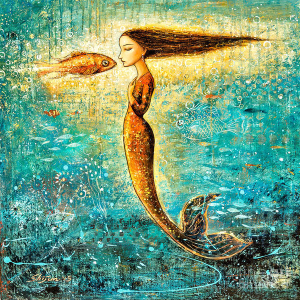 Mermaid Art Poster featuring the painting Mystic Mermaid Iv by Shijun Munns