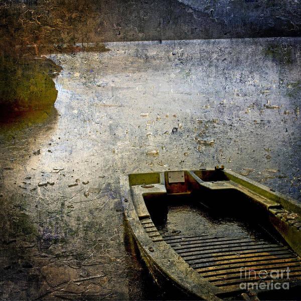 Bail Out Poster featuring the photograph Old Sunken Boat. by Bernard Jaubert