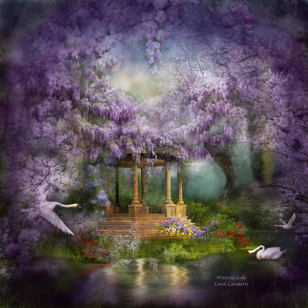 Wisteria Poster featuring the mixed media Wisteria Lake by Carol Cavalaris