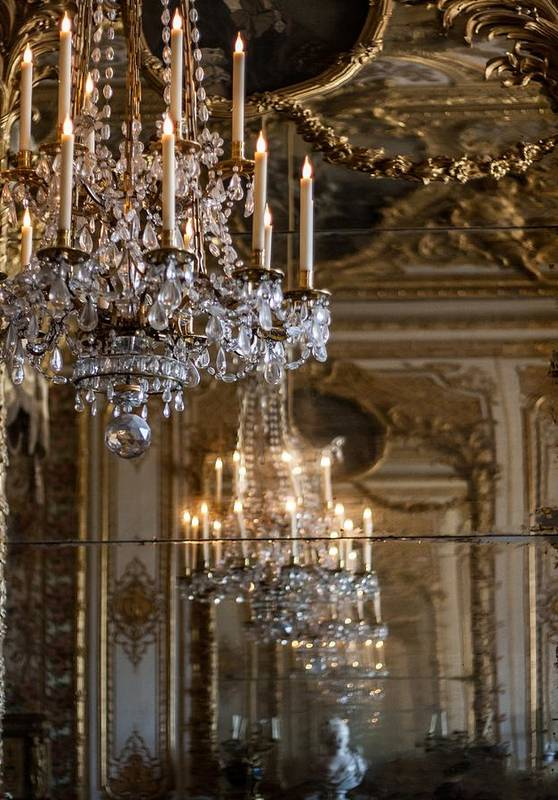 Chandelier At Versailles Poster featuring the photograph Chandelier At Versailles by Georgia Fowler