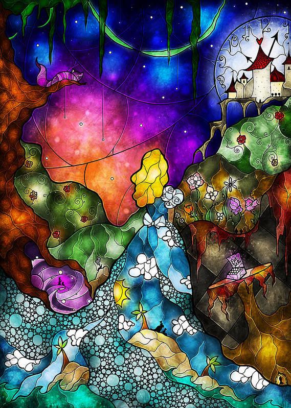 Alice In Wonderland Poster featuring the digital art Alice's Wonderland by Mandie Manzano