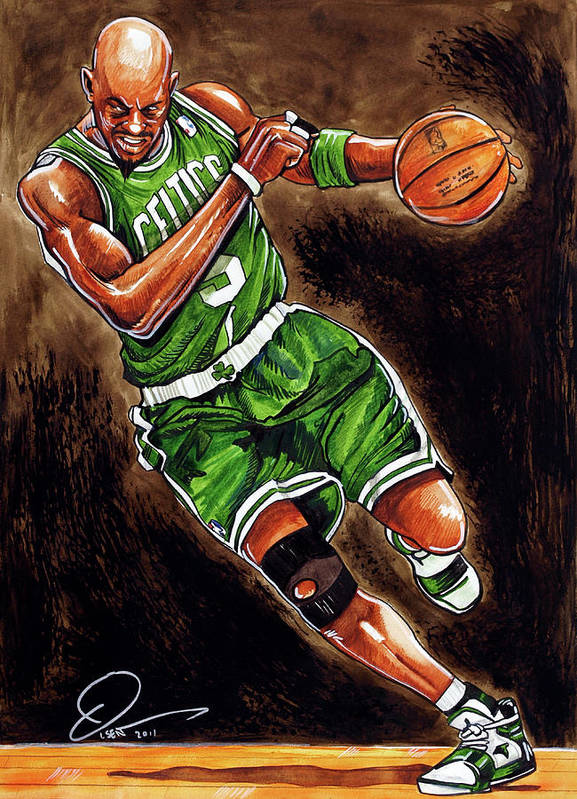 Kevin Garnett Poster featuring the painting Kevin Garnett by Dave Olsen