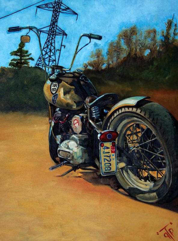 George Frizzell Jr. Oh Hell Yeah Motorcycle Harley-davidson Gtp Poster featuring the painting Oh Hell Yea by George Frizzell