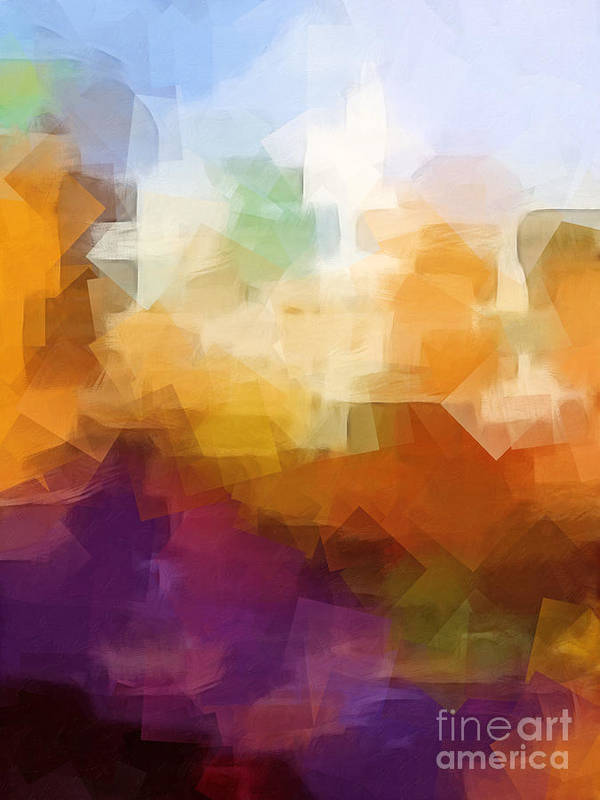 Abstract Cityscape Cubic Poster featuring the digital art Abstract Cityscape Cubic by Lutz Baar