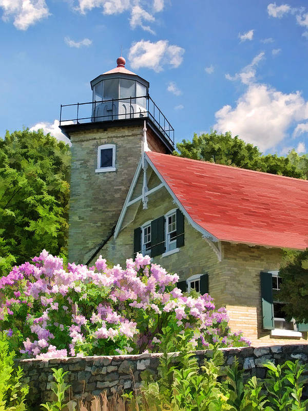 Door County Poster featuring the painting Door County Eagle Bluff Lighthouse Lilacs by Christopher Arndt