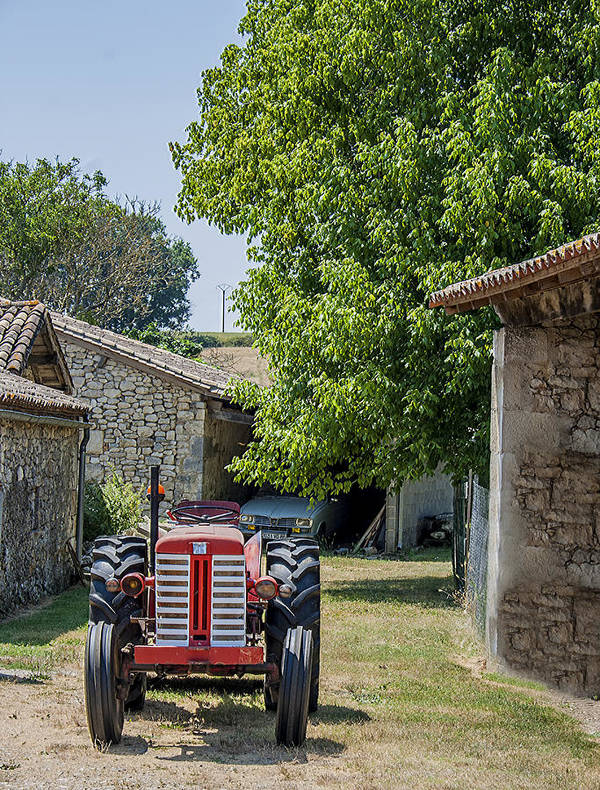 French Farm Poster featuring the photograph Red Tractor On A French Farm by Georgia Fowler