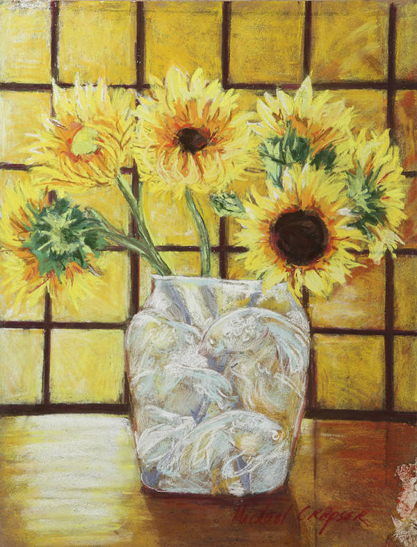 //flowers Poster featuring the painting Sunflowers by Michael Crapser