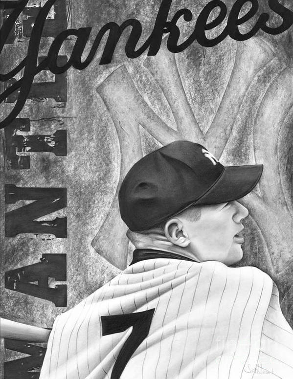 New York Yankees Poster featuring the drawing Mickey Mantle by Scott Hubbert