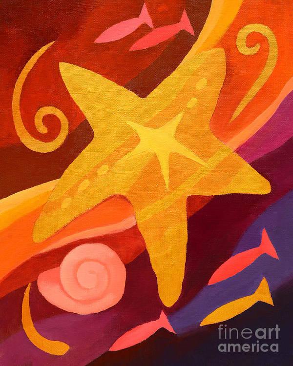 Golden Poster featuring the painting Golden Sealife by Lutz Baar