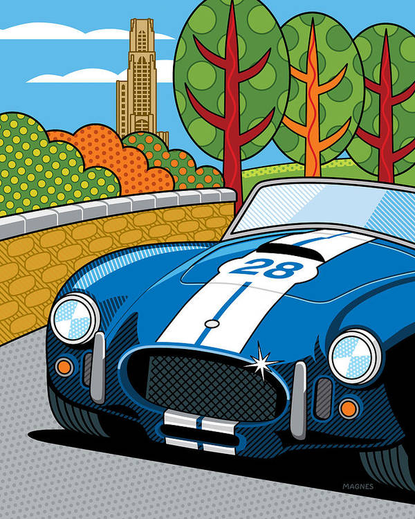 Graphic Poster featuring the digital art Pittsburgh Vintage Grand Prix by Ron Magnes