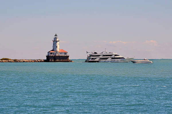 Chicago Poster featuring the photograph Historical Chicago Harbor Light by Christine Till