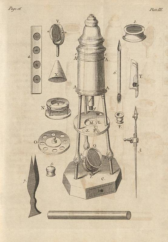 Artwork Poster featuring the photograph 18th Century Microscope, Artwork by Science Photo Library
