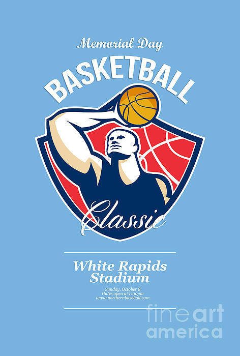 Basketball Poster featuring the digital art Basketball Player Rebounding Ball Retro by Aloysius Patrimonio