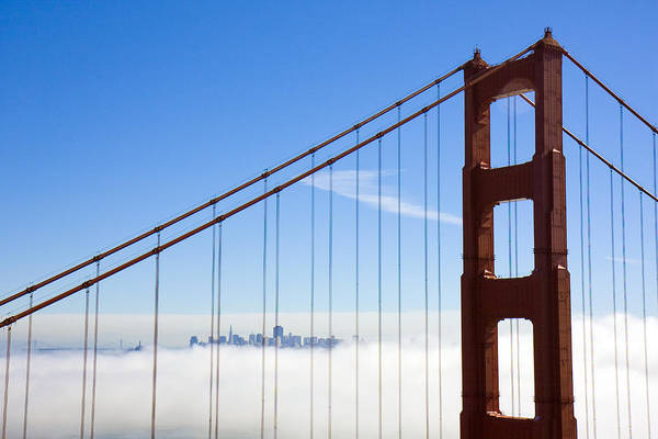 Golden Gate Bridge Poster featuring the photograph Bridge To The City In The Clouds by Darren Patterson